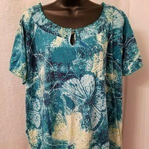 Basic Editions Green Blue Butterfly Shirt